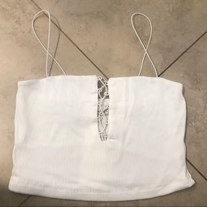 NWOT Free People Cropped Ribbed Cami Criss Cross